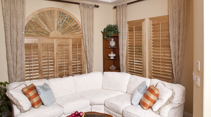 Sunburst Arch Ovation Wood Shutters In Dallas Living Room