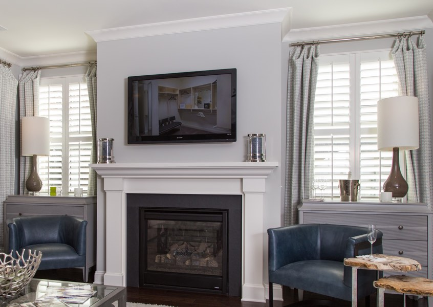 tv room Dallas faux wood shutters