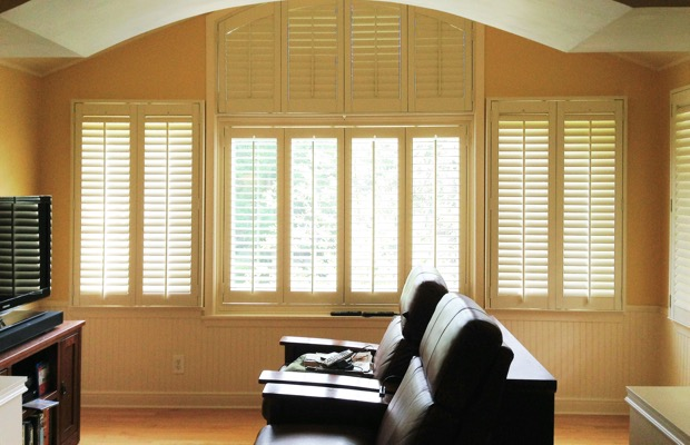 Dallas plantation shutters in tv room