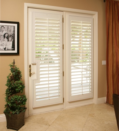 French door with plantation shutters
