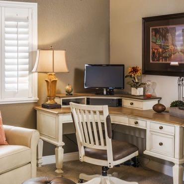 Dallas home office interior shutters.