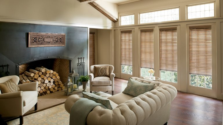 Dallas fireplace with blinds
