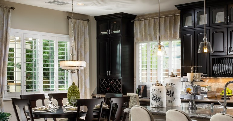 Dallas kitchen dining room with plantation shutters.