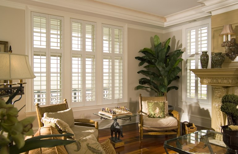 Living Room in Dallas with interior plantation shutters.