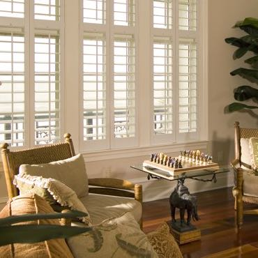 Dallas living room interior shutters.