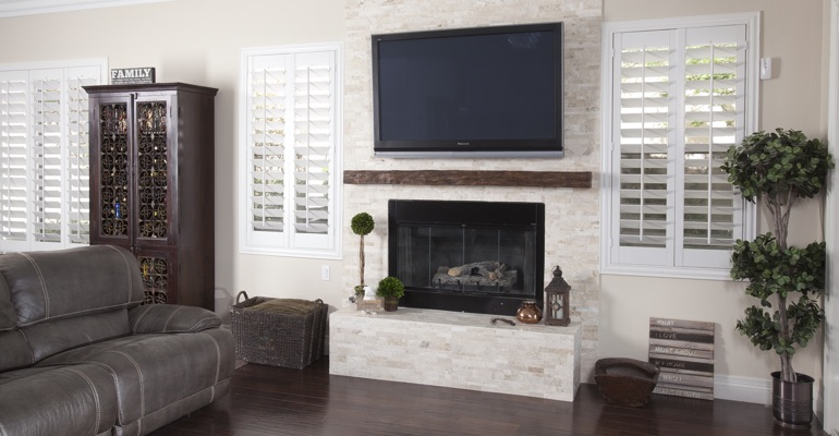 polywood shutters in Dallas living room