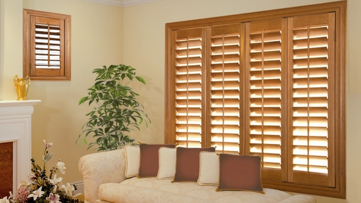 wood shutters Dallas living room