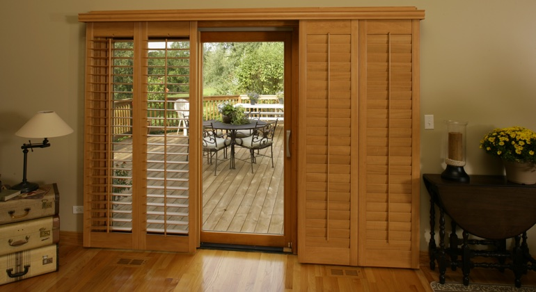 Dallas wood shutter sliding door