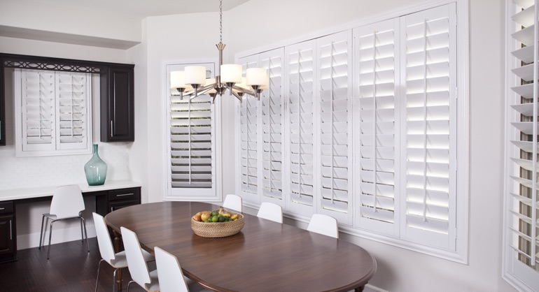 white shutters in Dallas dining room