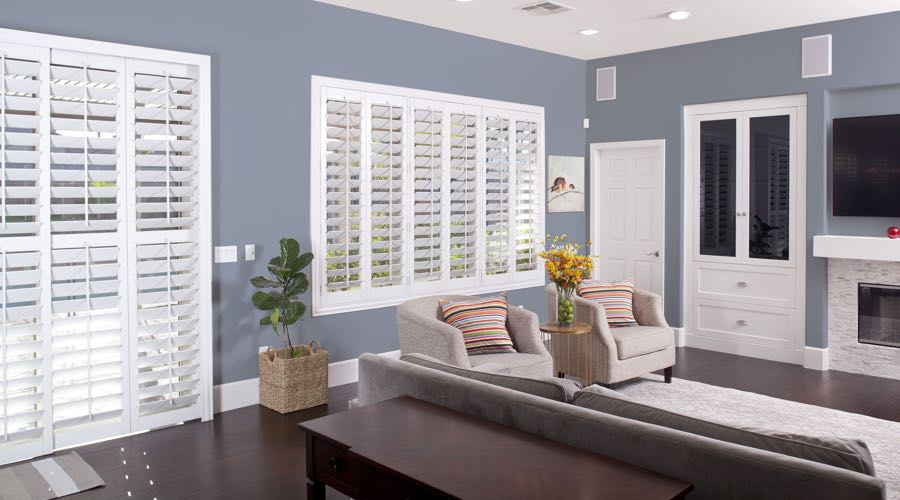 Faux Wood Shutters In modern Dallas Living Room