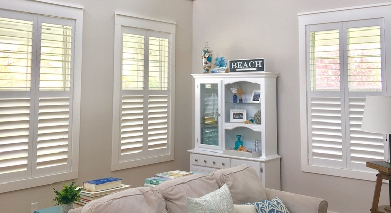 faux wood shutters in Dallas sunroom