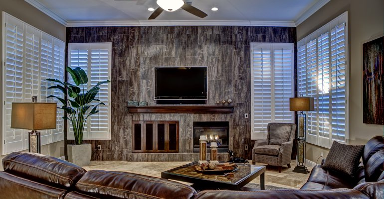 Dallas living room with shutters