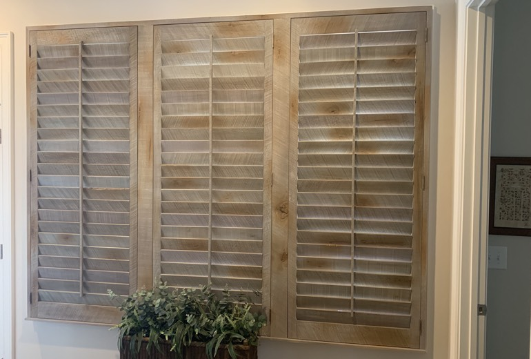 Closed reclaimed wood shutters in Dallas
