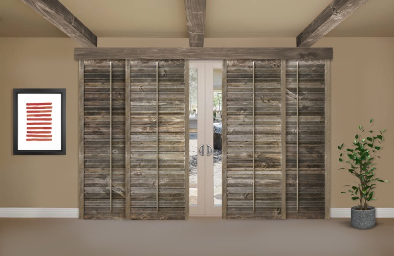 Reclaimed Wood Shutters On A Sliding Glass Door In Dallas - Reclaimed Wood Shutters For Sale Sunburst Shutters Dallas, TX