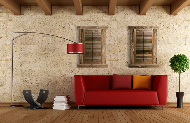 Reclaimed Wood Shutters In A Dallas Living Room