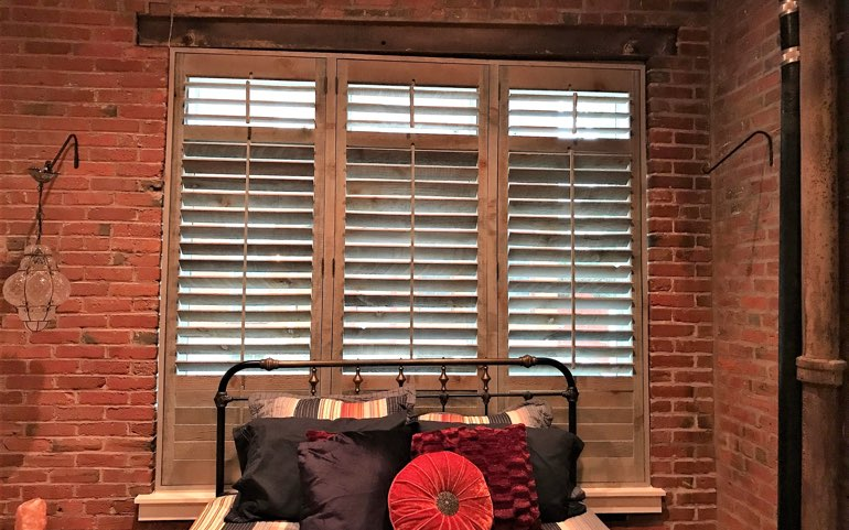 reclaimed wood shutters in Dallas bedroom