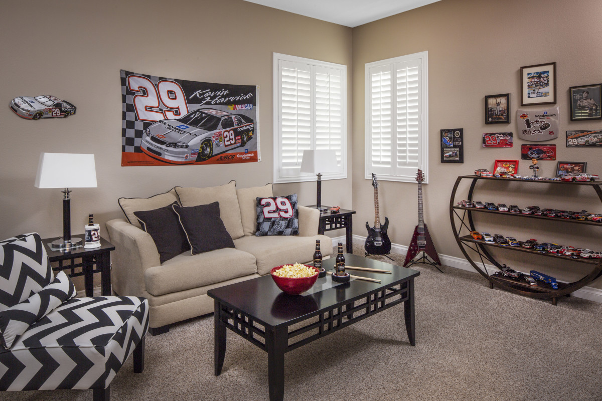 Dallas man cave with shutters