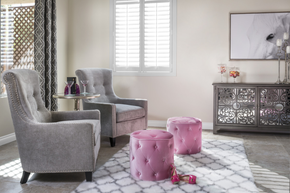 Dallas pink living room with shutters