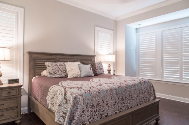 Dallas bedroom with light block shutters