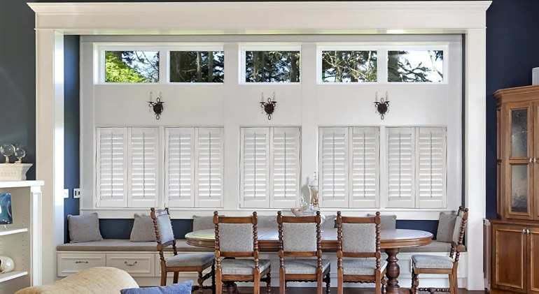 Dallas great room with white plantation shutters.