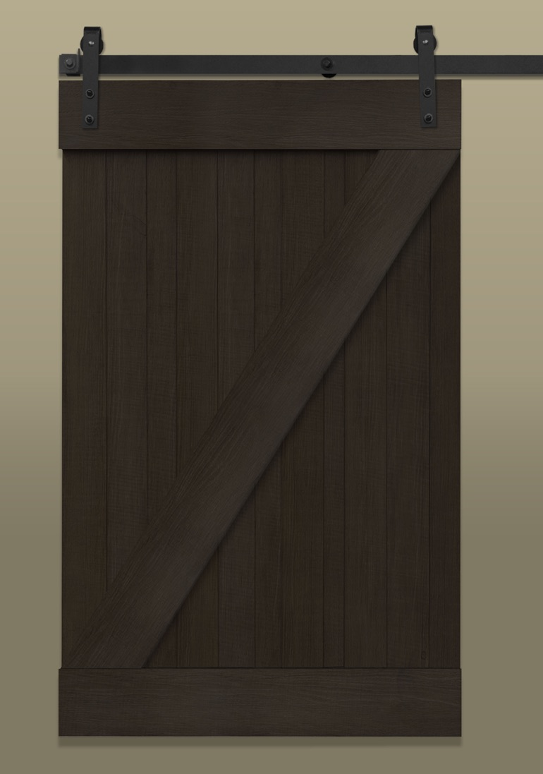 Interior barn doors custom barn doors near dallas plano frisco - Dark Brown Sliding Barn Door With Z Rail Plank Top Bottom Z Brace