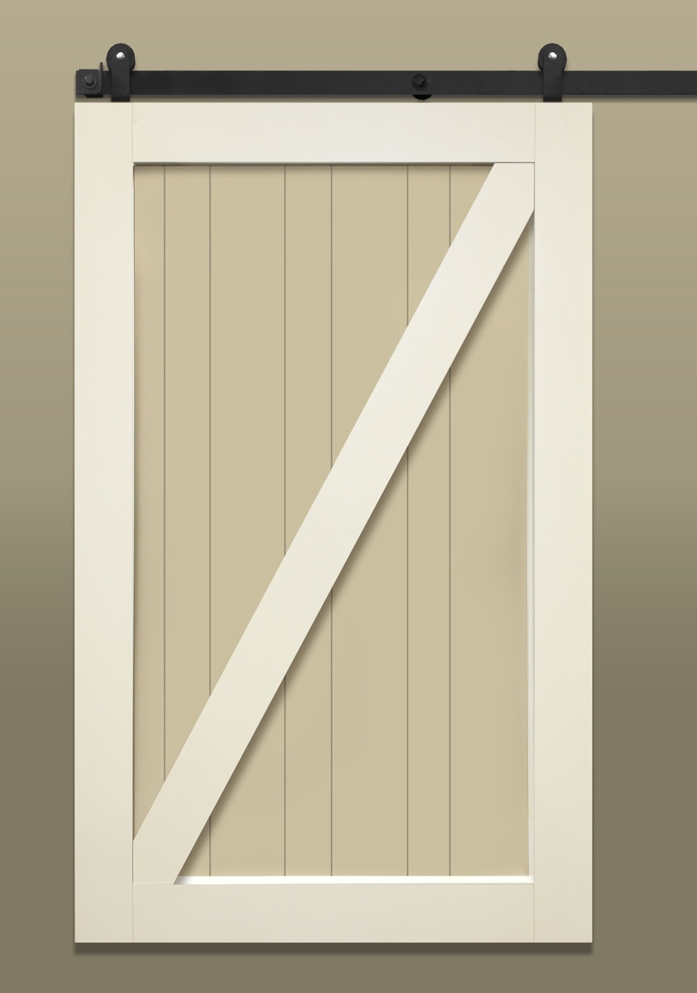 Light colored barn door with Z-brace