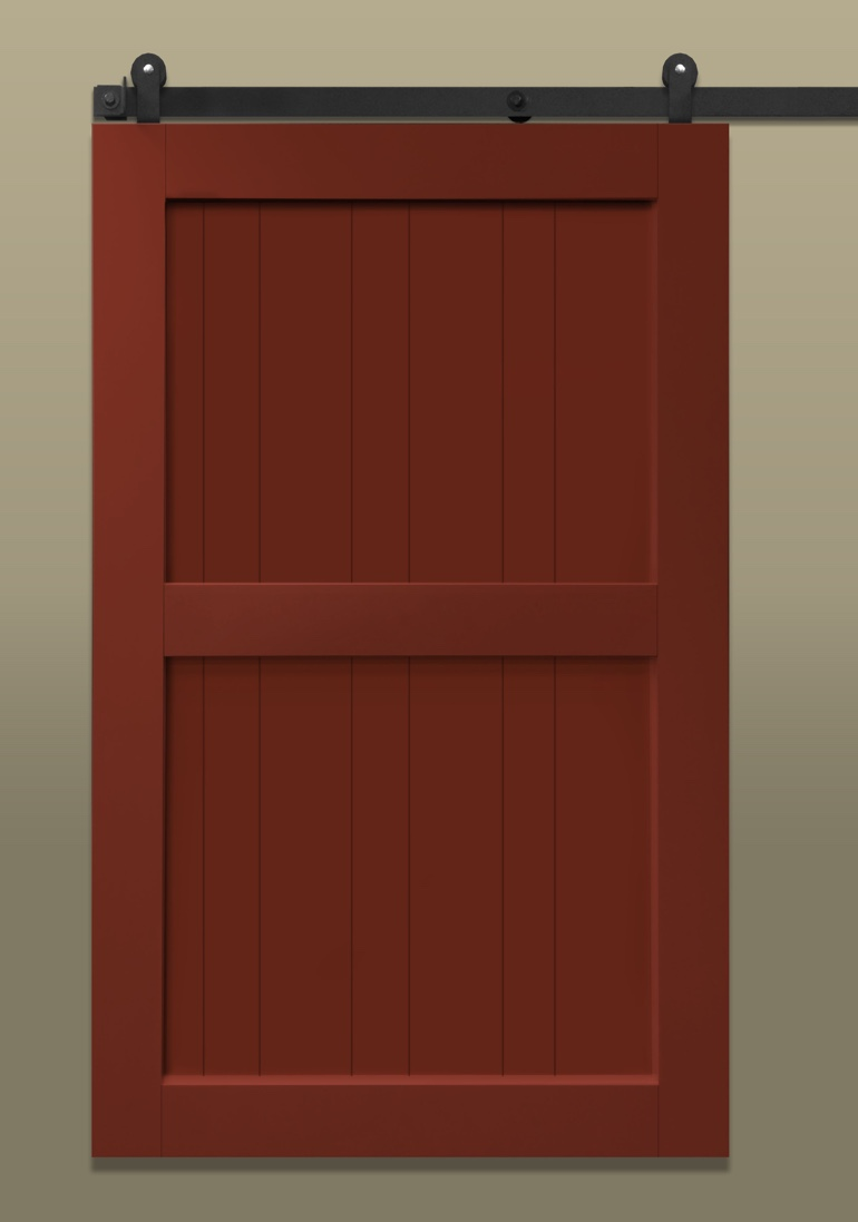 Red stile & rail sliding barn door with brace in the middle