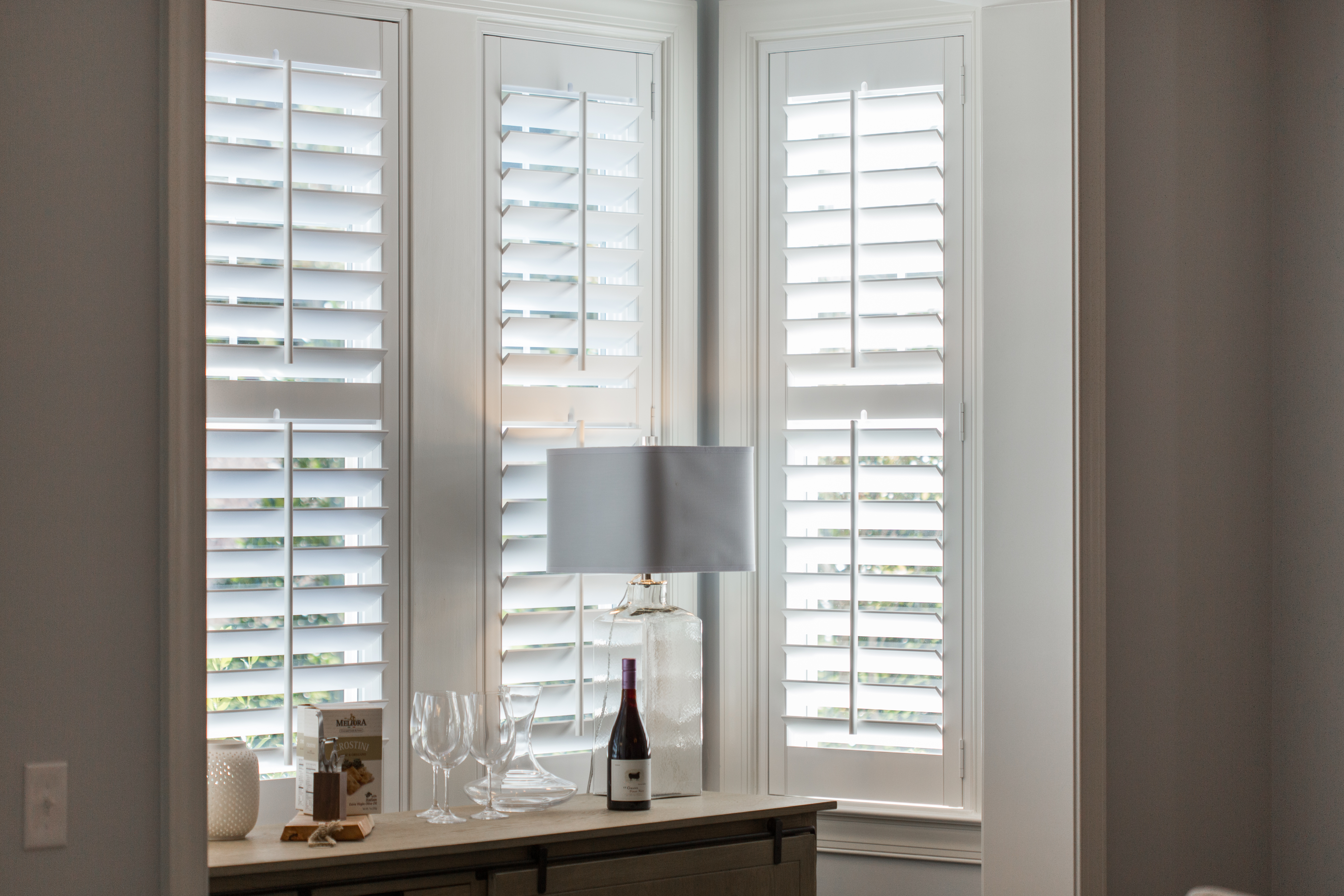 White shutters in Dallas alcove.