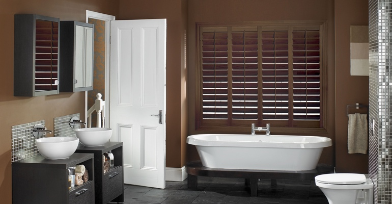 Dallas bathroom shutters wood stain