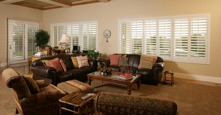 Dallas basement with french door shutters.
