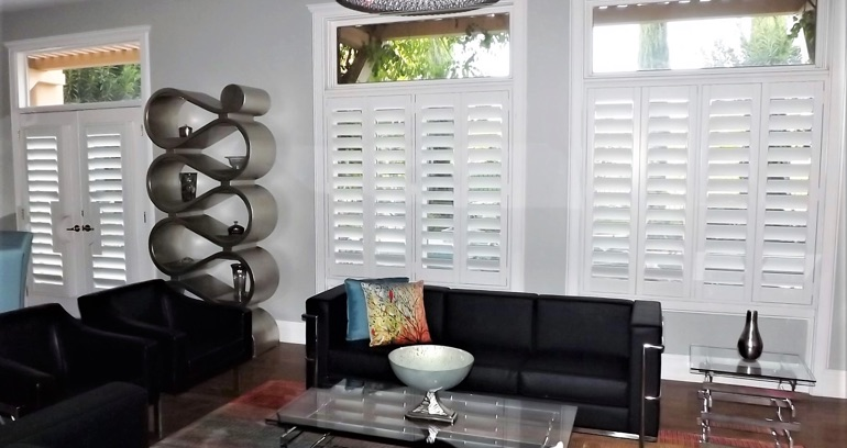 Dallas DIY shutters in living room.