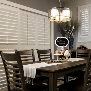 Shutters behind Thanksgiving table