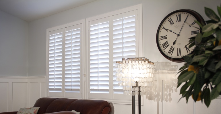 Dallas living room plantation shutters