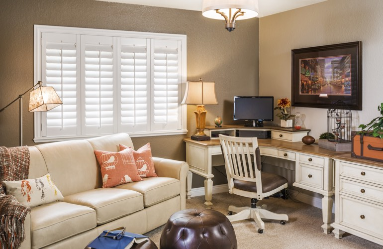 Dallas home office with white window shutters.