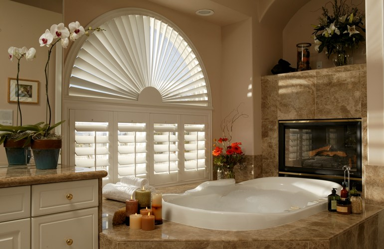 Our Specialists Installed Shutters On A Sunburst Arch Window In Dallas, TX