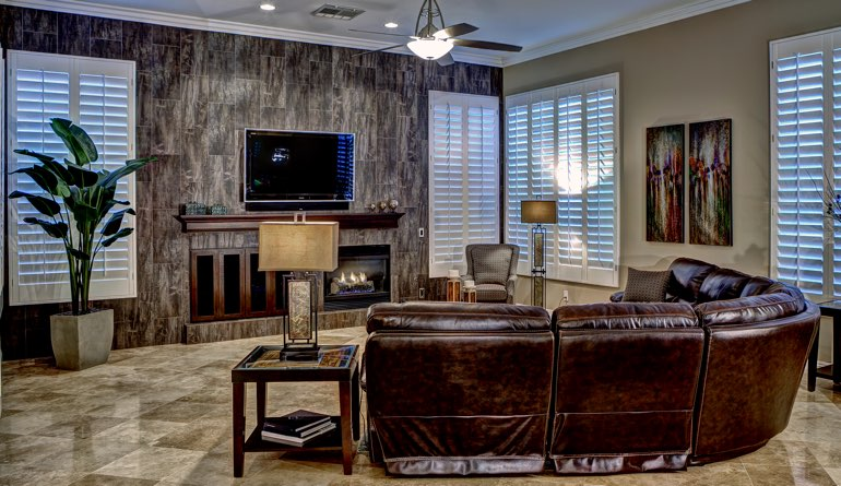 Plantation Shutters In A Dallas Living Room.