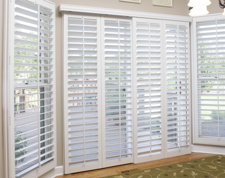 Sliding glass door with plantation shutters Dallas